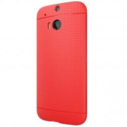 """Dots"" cieta silikona (TPU) apvalks - sarkans (One M8 / One M8s)"