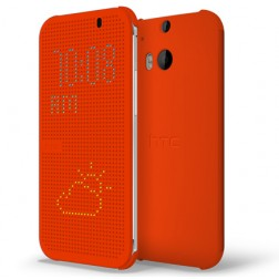 """""""HTC"""" Dot View origināls atvēramais futrālis - oranžs (One M8 / One M8s)"""
