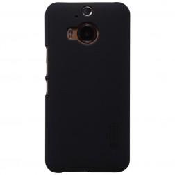 """Nillkin"" Frosted Shield apvalks - melns + ekrāna aizsargplēve (One M9+)"