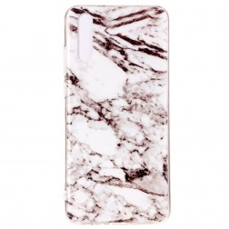 """Marble"" cieta silikona (TPU) apvalks - balts (P20)"