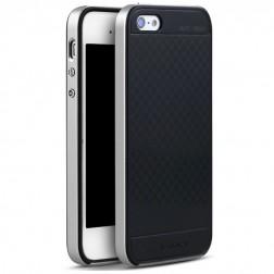 """""""IPAKY"""" cieta silikona (TPU) apvalks - melns / sudrabs (iPhone 5 / 5S / SE)"""