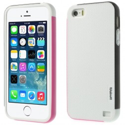 """Walnutt"" cieta silikona apvalks - balts /melns (iPhone 5 / 5s / SE)"
