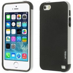 """Walnutt"" cieta silikona apvalks - melns / balts (iPhone 5 / 5s / SE)"