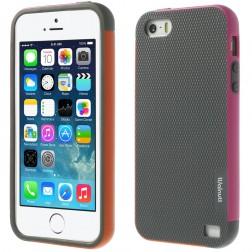 """Walnutt"" cieta silikona apvalks - pelēks / rozs (iPhone 5 / 5s / SE)"