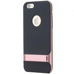 """""""Rock"""" Royce Kickstand apvalks - melns apmales rozā krāsā (iPhone 6 / 6s)"""