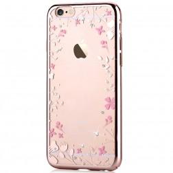 """Devia"" Flowers Swarovski apvalks - zelta (iPhone 6 / 6S)"