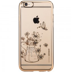 """Devia"" Apple iPhone 6 (6s) JOYROOM Flowers apvalks - zelta (iPhone 6 / 6S)"