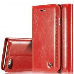"""""""CaseMe"""" solīds atvēramais ādas maciņš - sarkans (iPhone 7 / 8)"""