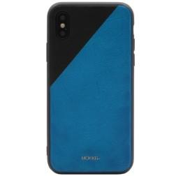 """MOKKA"" Bevel Pattern ādas apvalks - zils / melns (iPhone X / Xs)"