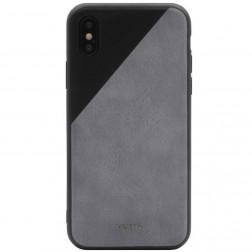 """MOKKA"" Bevel Pattern ādas apvalks - peleks / melns (iPhone X / Xs)"