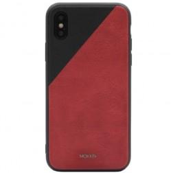 """""""MOKKA"""" Bevel Pattern ādas apvalks - sarkans / melns (iPhone X / Xs)"""
