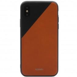 """MOKKA"" Bevel Pattern ādas apvalks - brūns / melns (iPhone X / Xs)"