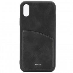 """""""MOKKA"""" Retro ādas apvalks - melns (iPhone X / Xs)"""