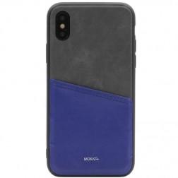 """""""MOKKA"""" Svelte ādas apvalks - zils / peleks (iPhone X / Xs)"""