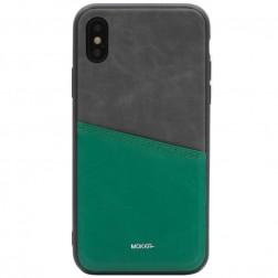 """""""MOKKA"""" Svelte ādas apvalks - zaļš / peleks (iPhone X / Xs)"""