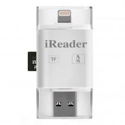 """""""iReader"""" SD / MicroSD / TF kartes lasītājs - balts"""