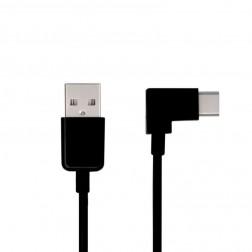 Leņķa USB Type-C vads - melns (3 m.)