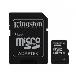 """Kingston"" MicroSD atmiņas karte - 16 Gb (10 Klase) + SD adapteris"