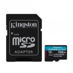 """Kingston"" Cavas Go Plus MicroSD atmiņas karte - 256 Gb (10 Klase) + SD adapteris"