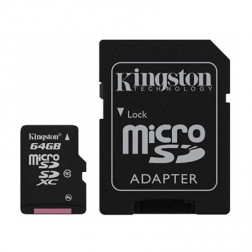 """Kingston"" MicroSD atmiņas karte - 64 Gb (10 Klase) + SD adapteris"