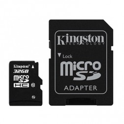 """Kingston"" MicroSD atmiņas karte - 32 Gb (10 Klase) + SD adapteris"