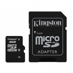 """Kingston"" MicroSD atmiņas karte - 4 Gb (10 Klase) + SD adapteris"