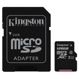 """Kingston"" MicroSD atmiņas karte - 128 Gb (10 Klase) + SD adapteris"