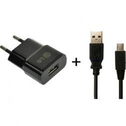 """""""LG"""" sienas lādētājs - melns + micro USB vads"""