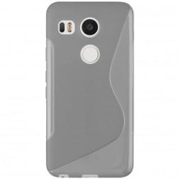 Cieta silikona (TPU) apvalks - dzidrs, pelēks (Nexus 5X)