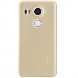 """Nillkin"" Frosted Shield apvalks - zelta + ekrāna aizsargplēve (Nexus 5X)"