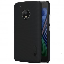 """Nillkin"" Frosted Shield apvalks - melns + ekrāna aizsargplēve (Moto G5 Plus)"