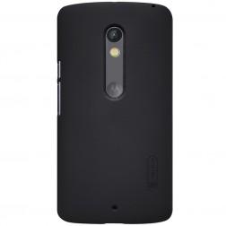 """Nillkin"" Frosted Shield apvalks - melns + ekrāna aizsargplēve (Moto X Play)"