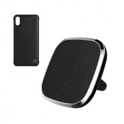 """""""Nillkin"""" magnētiskais automašīnas telefona turētājs lādētājs, restēm + magnētiskais apvalks telefoniem (iPhone X / Xs)"""