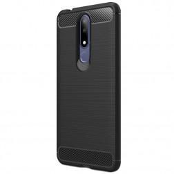 """""""Carbon"""" cieta silikona (TPU) apvalks - melns (Nokia 3.1 Plus 2018)"""