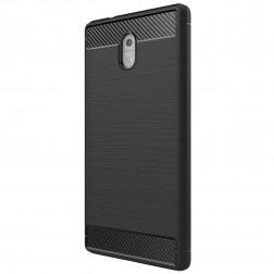 """""""Carbon"""" cieta silikona (TPU) apvalks - melns (Nokia 3)"""