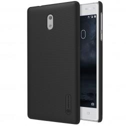 """Nillkin"" Frosted Shield apvalks - melns + ekrāna aizsargplēve (Nokia 3)"