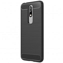 """""""Carbon"""" cieta silikona (TPU) apvalks - melns (Nokia 5.1 Plus 2018)"""
