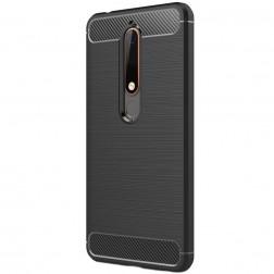 """""""Carbon"""" cieta silikona (TPU) apvalks - melns (Nokia 6 2018 / Nokia 6.1)"""