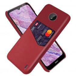 """KSQ"" Shell ādas apvalks - sarkans (Nokia C10 / C20)"