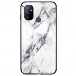 """Marble"" cieta silikona (TPU) apvalks - balts  (OnePlus Nord N100)"