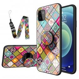 """""""Pattern"""" cieta silikona (TPU) apvalks - krāsains + telefona virviņa + turētājs (Galaxy A22 5G)"""