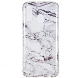 """Marble"" cieta silikona (TPU) apvalks - balts (Galaxy A40)"