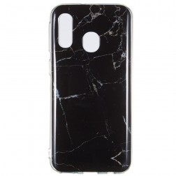 """Marble"" cieta silikona (TPU) apvalks - melns (Galaxy A40)"