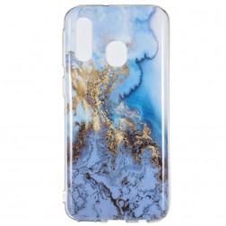 """Marble"" cieta silikona (TPU) apvalks - zils (Galaxy A40)"