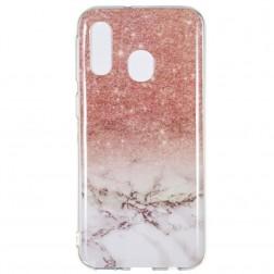"""""""Marble"""" cieta silikona (TPU) apvalks - brūns (Galaxy A40)"""