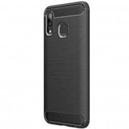"""Carbon"" cieta silikona (TPU) apvalks - melns (Galaxy A40)"