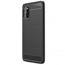 """Carbon"" cieta silikona (TPU) apvalks - melns (Galaxy A41)"