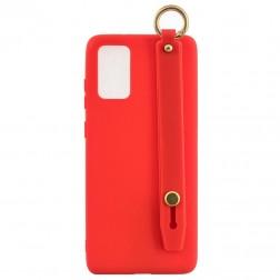 """""""Strap"""" Kickstand cieta silikona (TPU) apvalks - sarkans (Galaxy A41)"""