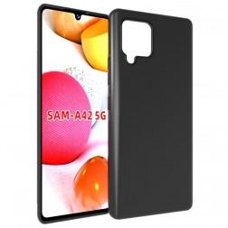 Cieta silikona (TPU) apvalks - melns (Galaxy A42 5G)