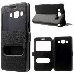 """Atvēramais """"Dual Window"""" stila maciņš - melns (Galaxy A5 2015)"""
